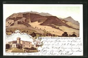 Lithographie Gersfeld, Restaurant und Logierhaus von Carl Sorg, Blick zur Wasserkuppe