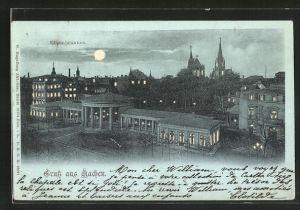 Mondschein-Lithographie Aachen, Blick auf Elisenbrunnen, Halt gegen das Licht: Leuchtende Fenster u. Vollmond