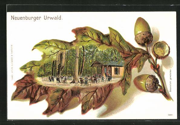 Passepartout-Lithographie Zetel, Gasthaus zum Neuenburger Urwald, Ansicht auf Eichenblatt