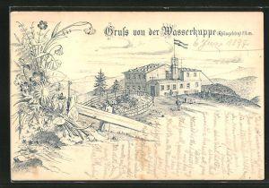 Lithographie Gersfeld, Gasthaus auf der Wasserkuppe