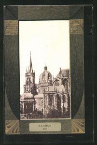 Passepartout-AK Aachen, Sicht auf den Dom