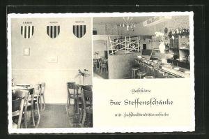 AK Aachen, Gaststätte Zur Steffensschänke, Ecke Adalbertsteinweg-Ottostrasse, Innenansichten