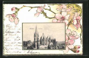 Präge-AK Aachen, Der Dom im Passepartout mit Blumen