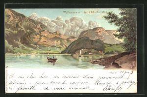 Lithographie Künzli Nr. 5020: Wallensee mit den 7 Churfürsten, Berg mit Gesicht / Berggesichter
