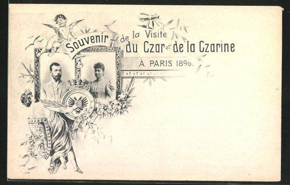 AK Zar Nikolaus II. von Russland zu Besuch in Paris 1896