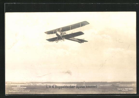 Foto-AK Sanke Nr. 268: L.V.G. Doppeldecker (System Schneider) im Fluge