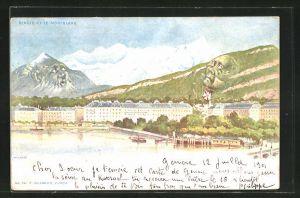 Künstler-AK Killinger Nr. 94: Geneve, Ortsansicht gegen Mont Blanc, Berg mit Gesicht / Berggesichter