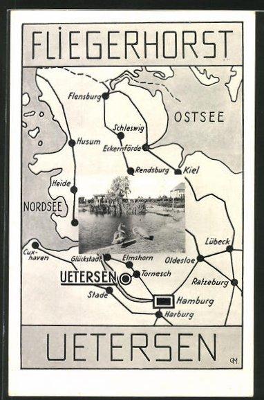 AK Uetersen, Fliegerhorst, Landkarte von Schleswig-Holstein