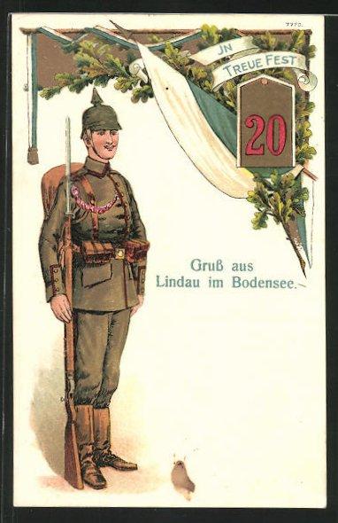 AK Lindau im Bodensee, Soldat des 20. Regiments in Uniform mit Pickelhaube steht Wache