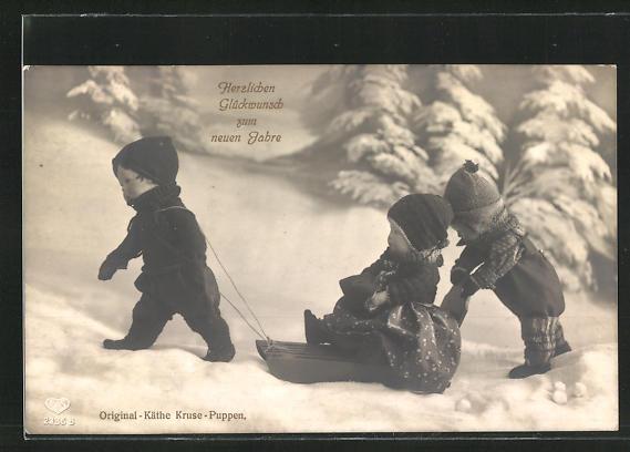 AK Nachgestellte Winterfreuden mit Käthe Kruse-Puppen