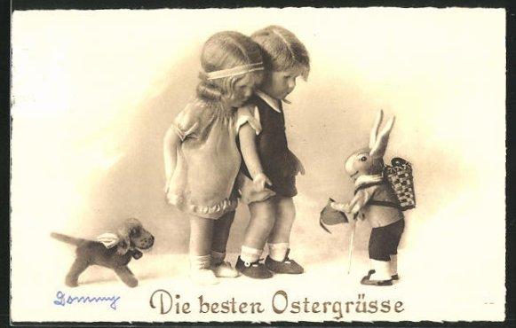 AK Käthe Kruse-Puppen treffen den Osterhasen