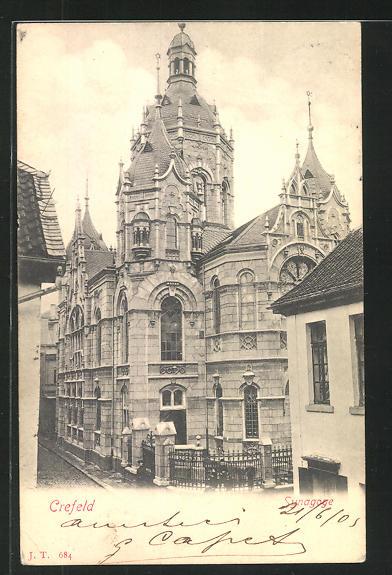 AK Crefeld, Ansicht der Synagoge
