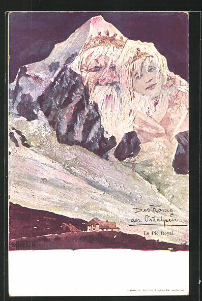 Künstler-AK sign. E. Hansen / Emil Nolde: Der König der Ostalpen / Pic Royal, Berg mit Gesicht / Berggesichter