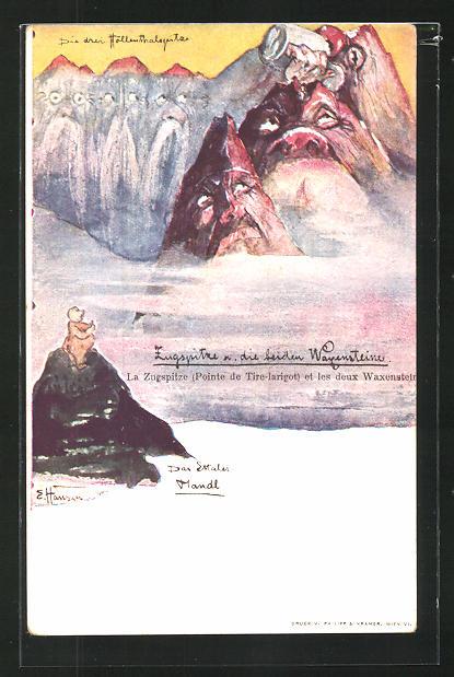 Künstler-AK sign. E. Hansen / Emil Nolde: Zugspitze und die beiden Waxensteine, Berg mit Gesicht / Berggesichter