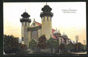 AK Denver, CO, Temple Emanuel, Abendstimmung an der Synagoge