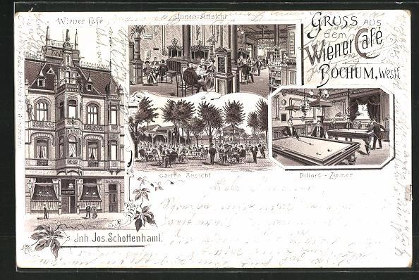 Lithographie Bochum, Wiener Cafe, Billard-Zimmer, Garten
