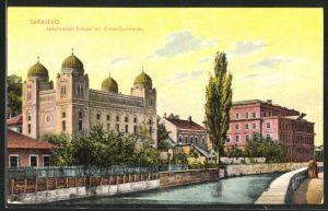 AK Sarajewo, Blick auf Synagoge und Corps-Commando