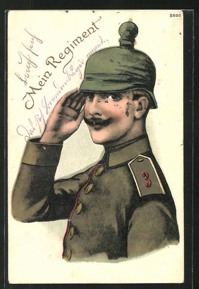 AK Soldat des 3. Artillerie-Regiments in Uniform mit Pickelhaube