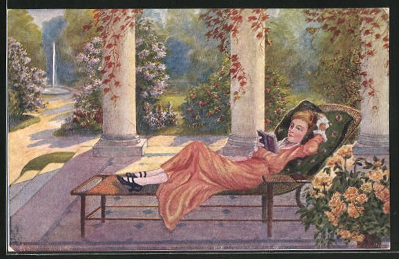 Künstler-AK sign. M. Dutzauer: Dolce far niente, Frau auf Liegestuhl liest ein Buch
