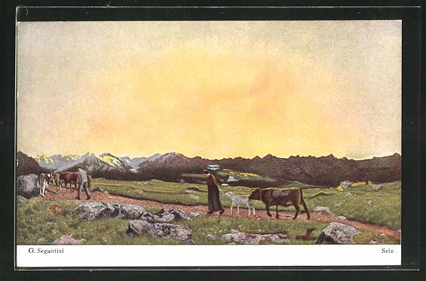 Künstler-AK Giovanni Segantini: Sein, Bauern mit Kühen vor Berglandschaft