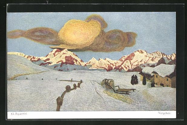 Künstler-AK Giovanni Segantini: Vergehen, Schneelandschaft mit Gebirge