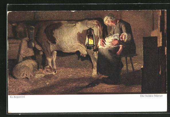 Künstler-AK Giovanni Segantini: die beiden Mütter, schlafende Bäuerin mit Kind, Kuh mit Kälbchen