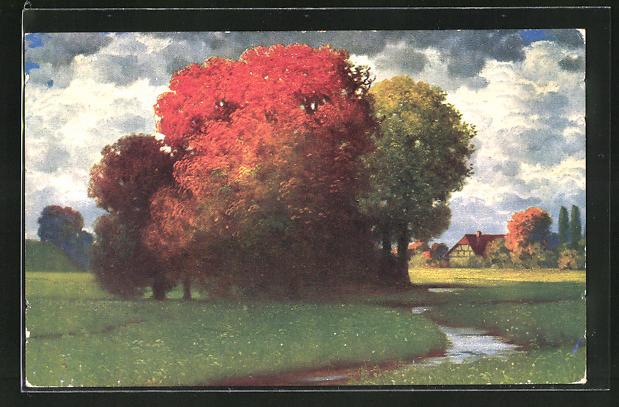 Künstler-AK Eduard Rüdisühli: Herbststimmung, Bäume mit herbstlichen Farben