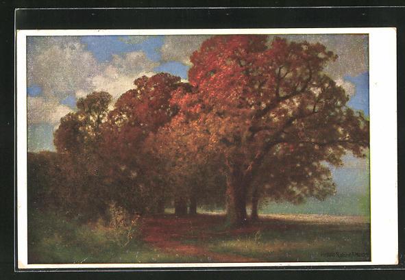 Künstler-AK Hermann Rüdisühli: Herbstsonne, Bäume mit Herbstfarben