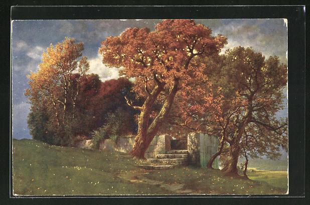 Künstler-AK Hermann Rüdisühli: Weg zum Tempel, Bäume in Herbstfarben