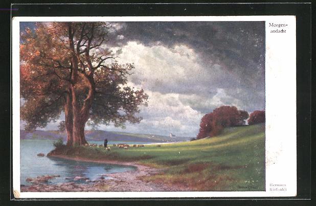 Künstler-AK Hermann Rüdisühli: Morgenandacht, Uferansicht mit dramatischen Wolken