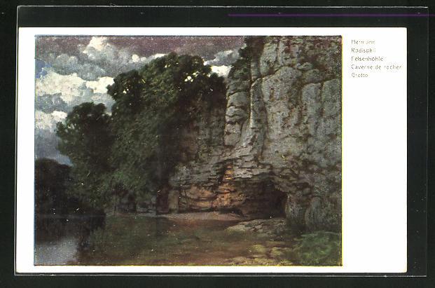 Künstler-AK Hermann Rüdisühli: Felsenhöhle mit Gewässer
