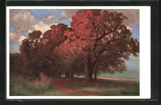 Künstler-AK Hermann Rüdisühli: Herbststürme, Bäume mit Herbstfarben