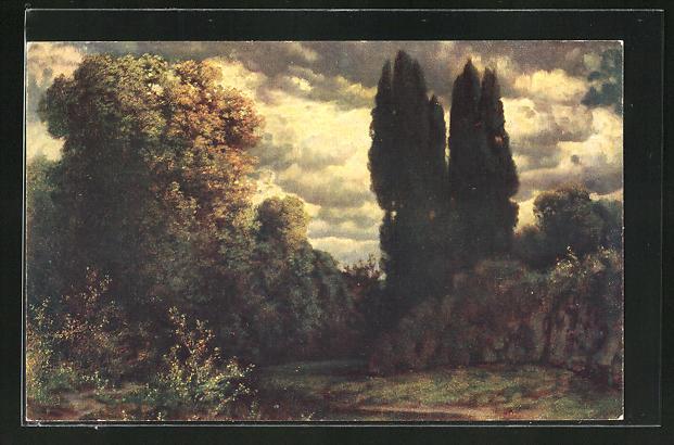 Künstler-AK Hermann Rüdisühli: Dämmerung, Landschaft mit dramatischen Wolkenbild