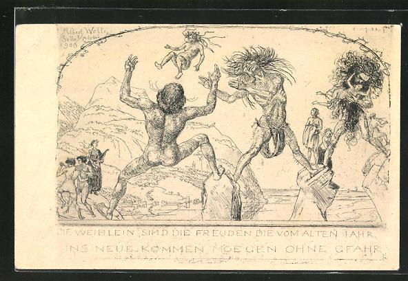 Künstler-AK Albert Welti: Die Weiblein sind die Freuden..., Wilde Männer schmeissen Frauen über ein Gewässer