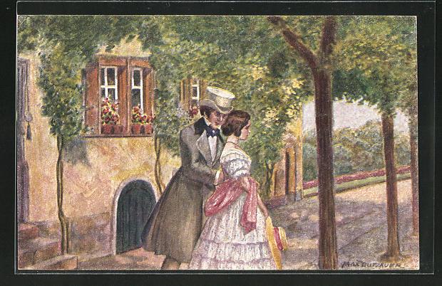 Künstler-AK sign. M. Dutzauer: der erste Ausgang, Mann mit Zylinder und junge Frau im Sommerkleid