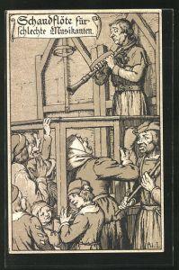 Lithographie Strafen im Mittelalter, Schandflöte für schlechte Musikanten