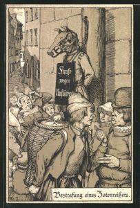Lithographie Strafen im Mittelalter, Bestrafung eines Zotenreissers