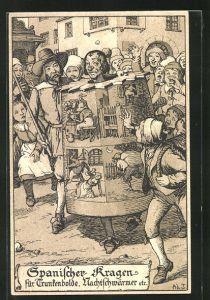 Lithographie Strafen im Mittelalter, Spanischer Kragen für Trunkenbolde und Nachtschwärmer