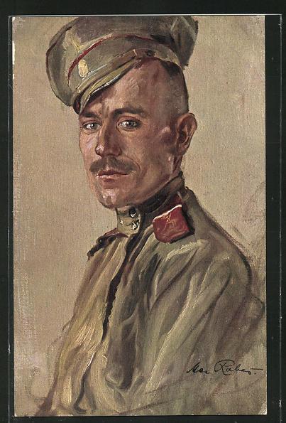 Künstler-AK Max Rabes: Russischer Soldat in Uniform