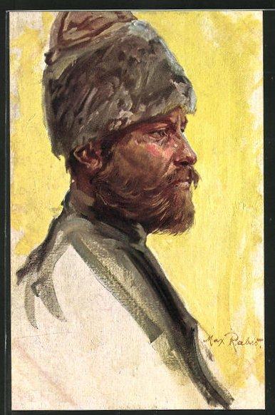 Künstler-AK Max Rabes: Portrait eines Don-Kosaken