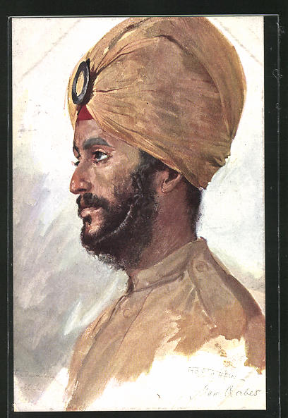 Künstler-AK Max Rabes: Inder aus Pandshab, Ind. Sykh-Inf.-Rgt.