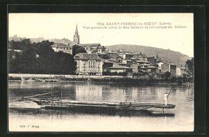 AK St-Pierre-de-Boef, Vue generale avec le Bac faisant la traversee du Rhone