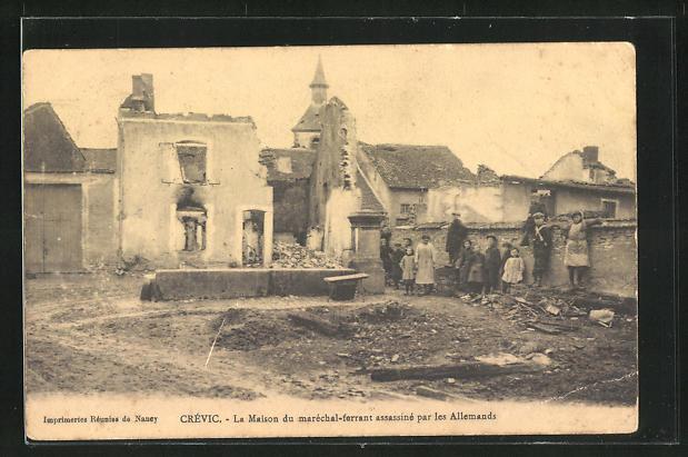 AK Crevic, La Maison du marechal-ferrant assassine par les Allemands