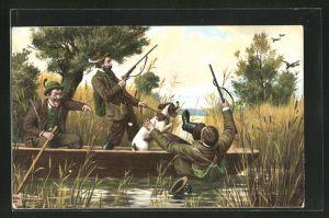 AK Jagdhumor, Kleiner Jagdunfall in einem Boot