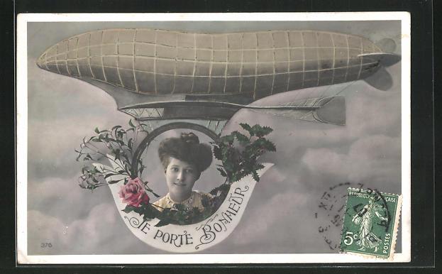 AK Porträt einer Frau als Gondel eines Zeppelins