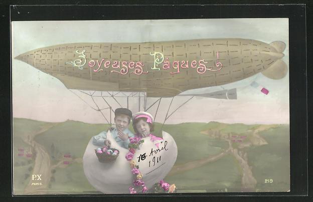 AK Kinder sitzen in einem Ei, das als Gondel eines Zeppelins dient