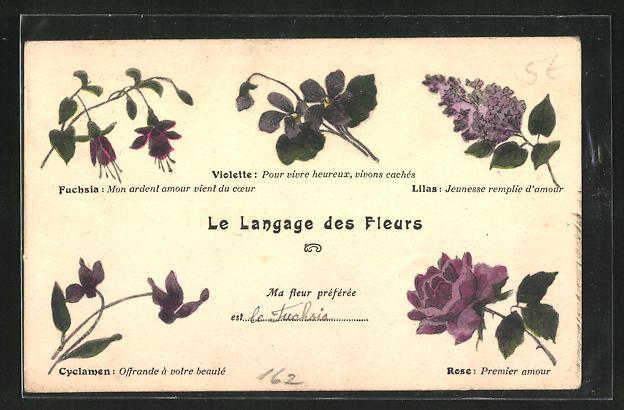 AK Blumensprache, Langages des Fleurs, Lilas - Jeunesse remplie d`amour, Rose - premier amour
