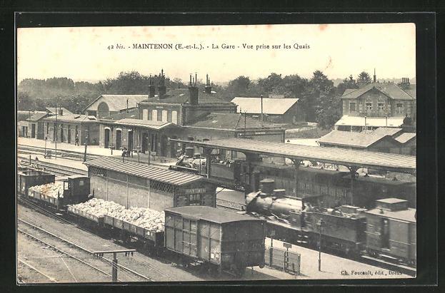 AK Maintenon, La Gare, Vue prise sur les Quais, Bahnhof