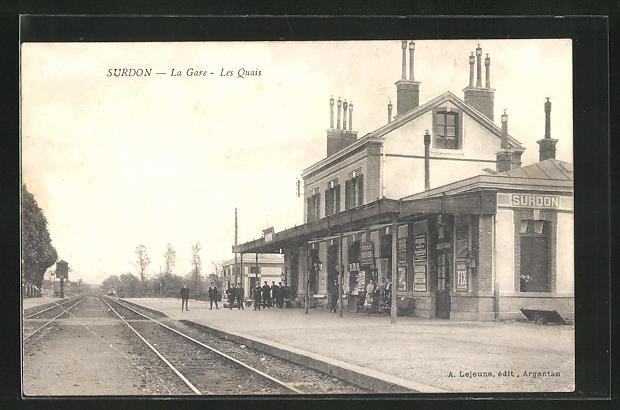 AK Surdon, La Gare, les Quais, Bahnhof