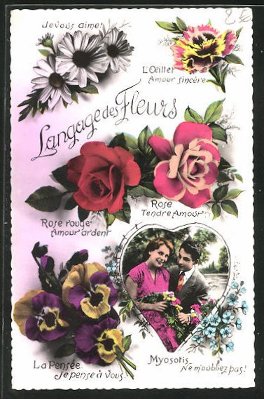 AK Langage des Fleurs: L`Oeiller Amour sincere, Blumensprache